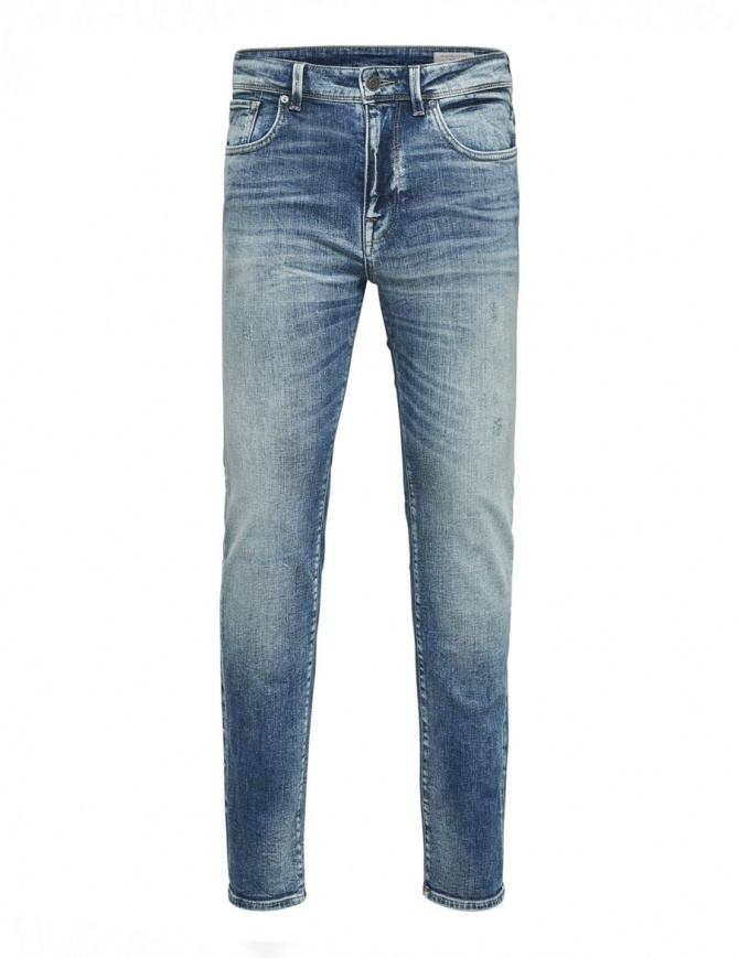 Selected Homme light blue elasticated jeans 16061487 MEDIUM BLUE DENIM mens jeans online shopping