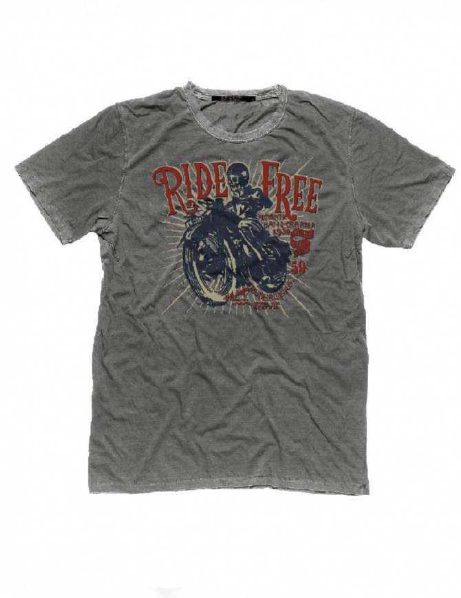 T-Shirt Grigia Stampa Ride Free Rude Riders R01032 col. 54027 t shirt uomo online shopping