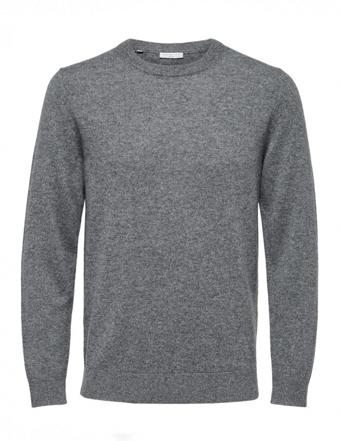 Pullover in cashmere grigio medio Selected Homme 16059316-Medium-Grey-Melange maglieria uomo online shopping
