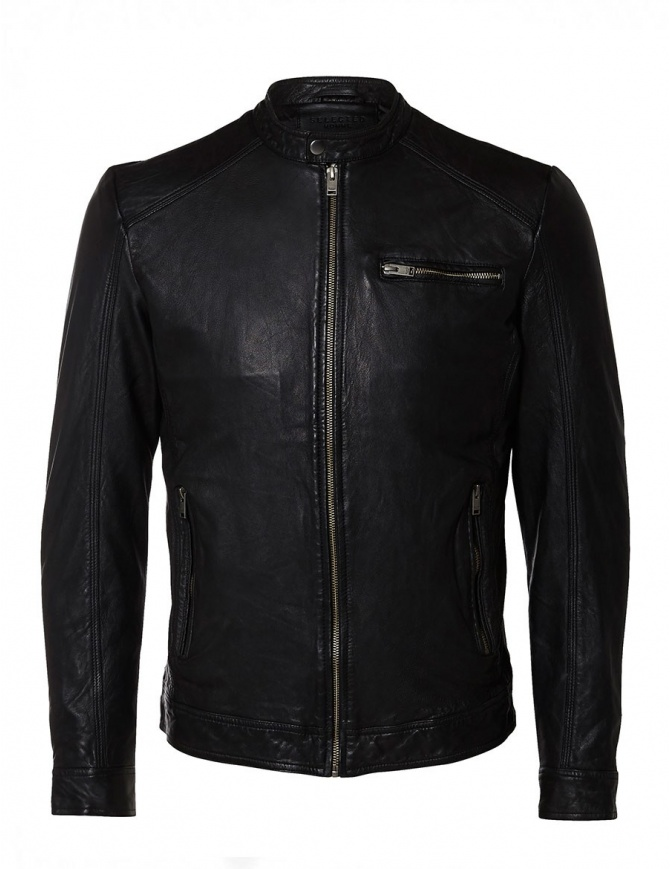 Giubbino in pelle di agnello Selected Homme 16053649-BLACK giubbini uomo online shopping
