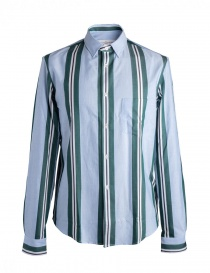 Mens shirts online: Golden Goose pale blue shirt with green stripes
