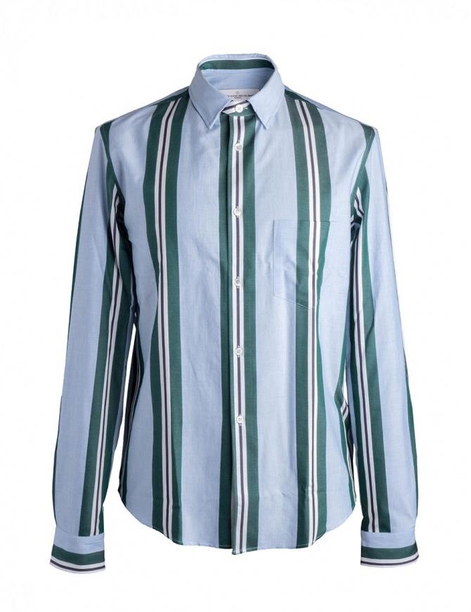 Camicia azzurra a righe verdi Golden Goose G32MP522.A5 camicie uomo online shopping