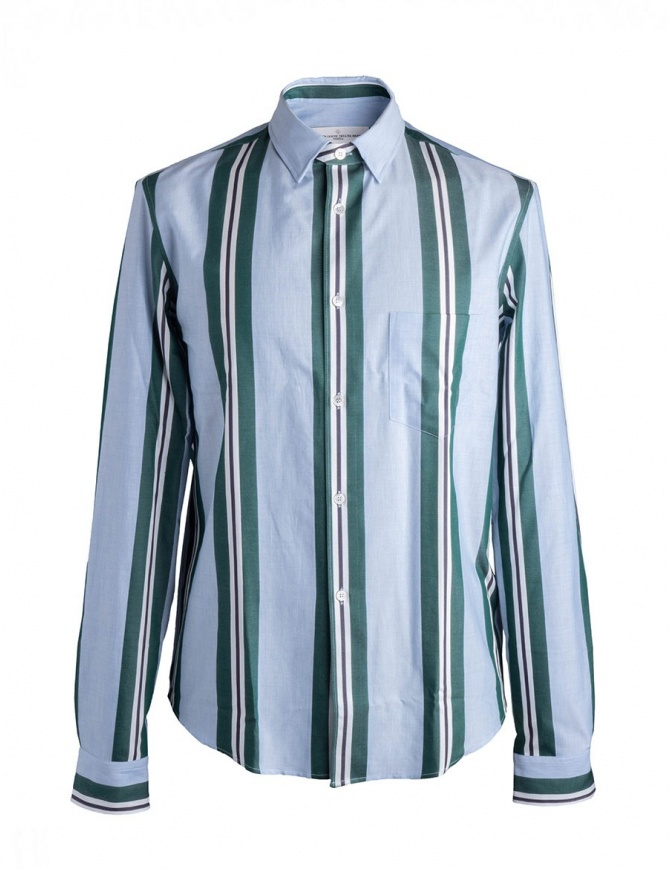 Golden Goose pale blue shirt with green stripes G32MP522.A5 WHITE GREEN STRIPE mens shirts online shopping
