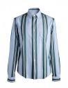 Camicia azzurra a righe verdi Golden Goose acquista online G32MP522.A5