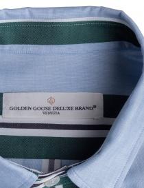 Camicia azzurra a righe verdi Golden Goose camicie uomo acquista online