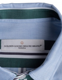 Golden Goose pale blue shirt with green stripes mens shirts buy online