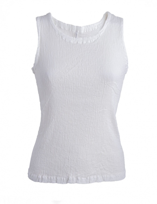 Canotta bianca Crêperie effetto increspato TC87-FE501 wHITE canotte donna online shopping
