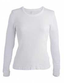Womens knitwear online: Crêperie white sweater with wrinkles effect