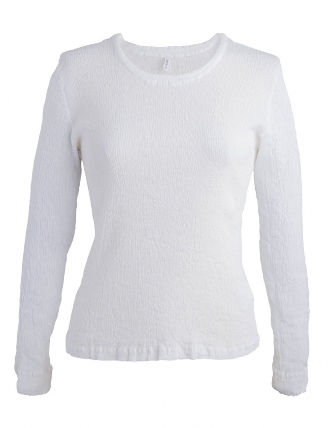 Crêperie white sweater with wrinkles effect TC87-FN503 WHITE womens knitwear online shopping