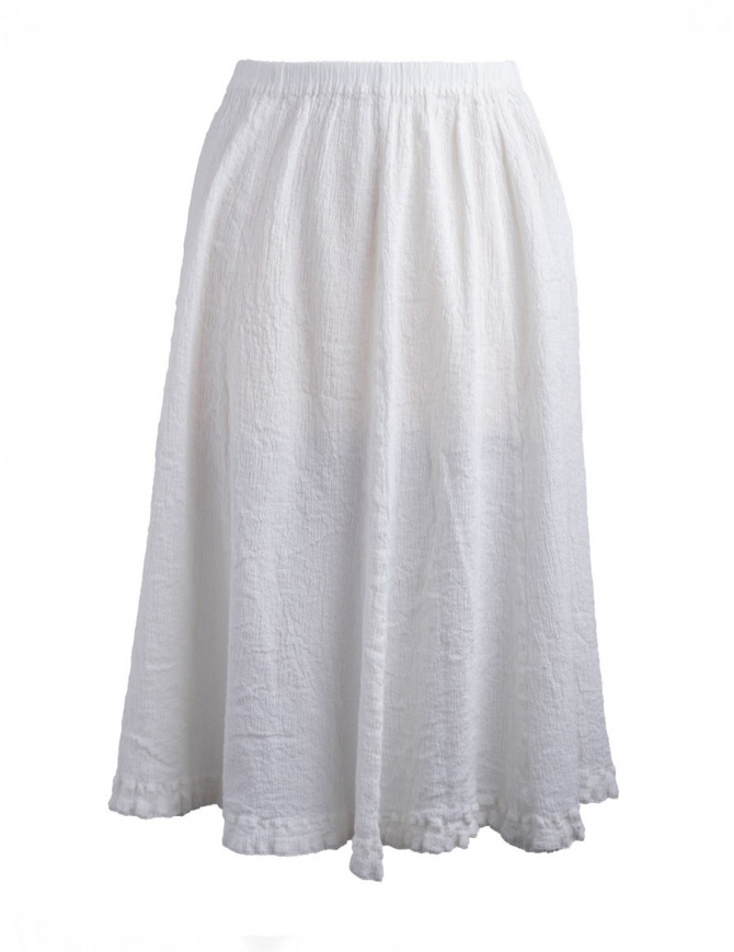 Crêperie white skirt crepe fabric TC05FG507 WHITE womens skirts online shopping