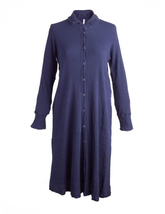 Abito Crêperie lungo abbottonato blu TC05FH505 BLU abiti donna online shopping