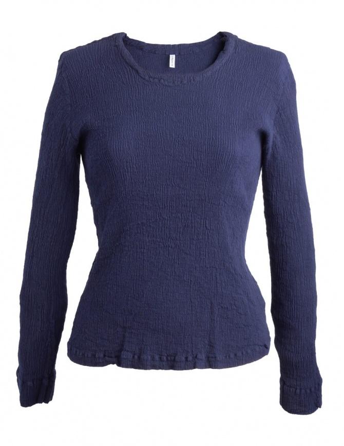 Maglia blu scuro Crêperie con effetto increspato TC87-FN503 BLUE maglieria donna online shopping