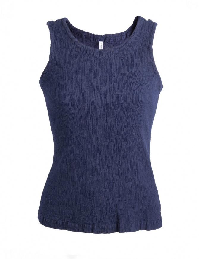 Canotta blu Crêperie effetto increspato TC05FE501 BLU canotte donna online shopping