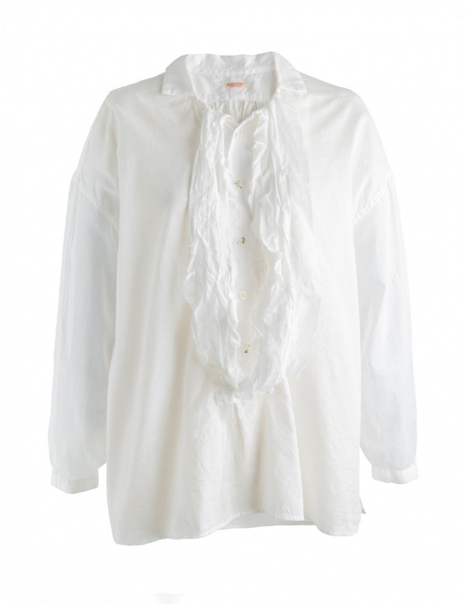 Kapital white shirt with rouches K1710LS177 womens shirts online shopping