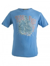 T shirt uomo online: T-Shirt blu denim stampa Free Ride Rude Riders