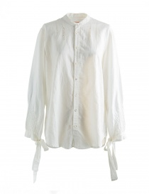 Womens shirts online: White Kapital shirt with ribbons