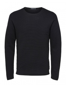 Selected Homme navy seersucker sweater 16062814 SLHROCKY CREWNECK BLACK order online