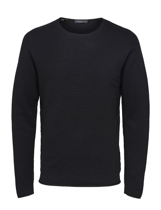 Maglione seersucker navy Selected Homme 16062814 SLHROCKY CREWNECK BLACK
