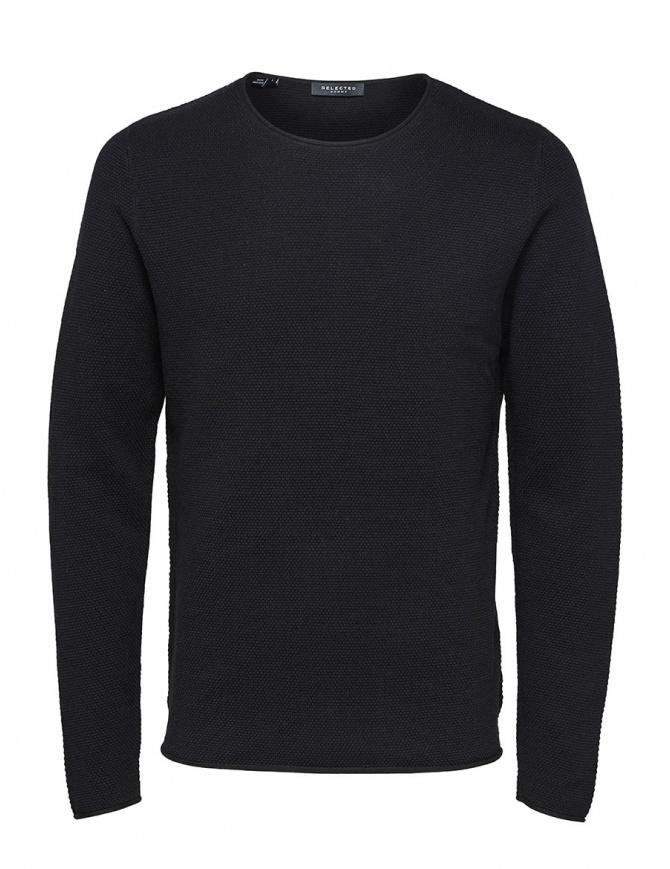Selected Homme navy seersucker sweater 16062814 SLHROCKY CREWNECK BLACK mens knitwear online shopping