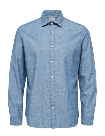 Mens shirts online: Selected Homme denim effect light blue shirt