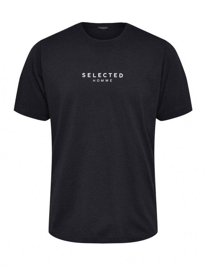 Selected Homme black T-shirt with logo 16063172 SLHLOGO SS O NECK mens t shirts online shopping