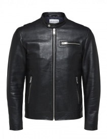 Giacca nera in pelle Selected Homme 16064161 SLHTEXAS LEATHERJACKET