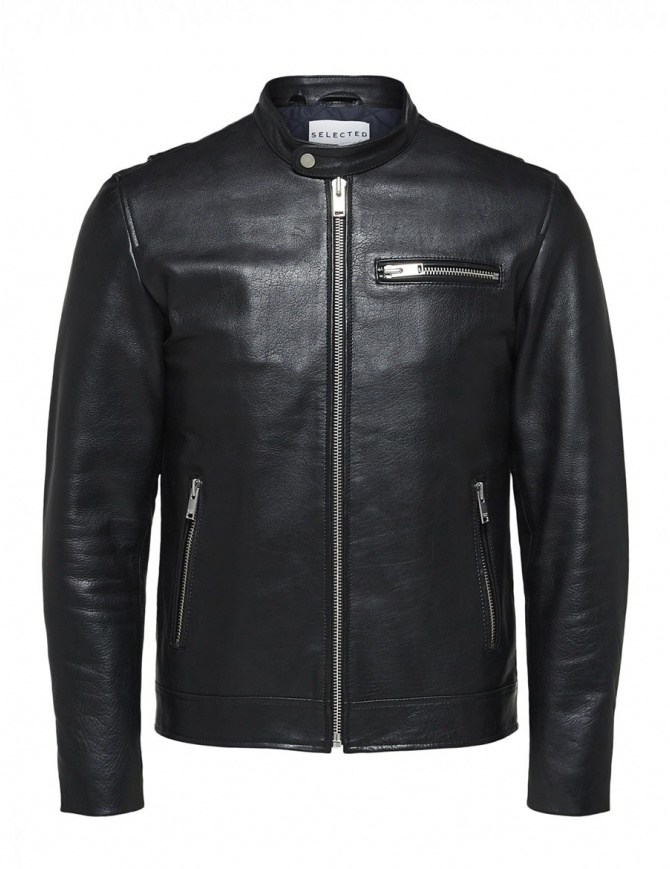 Giacca nera in pelle Selected Homme 16064161 SLHTEXAS LEATHERJACKET giubbini uomo online shopping