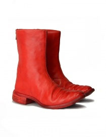 Mens shoes online: Red leather boots with spiral zip