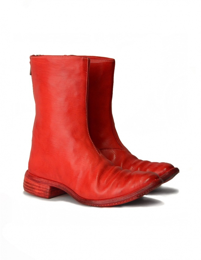 Red leather boots with spiral zip AM/2601L SBUC-PTC/13 mens shoes online shopping