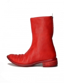 Red leather boots with spiral zip