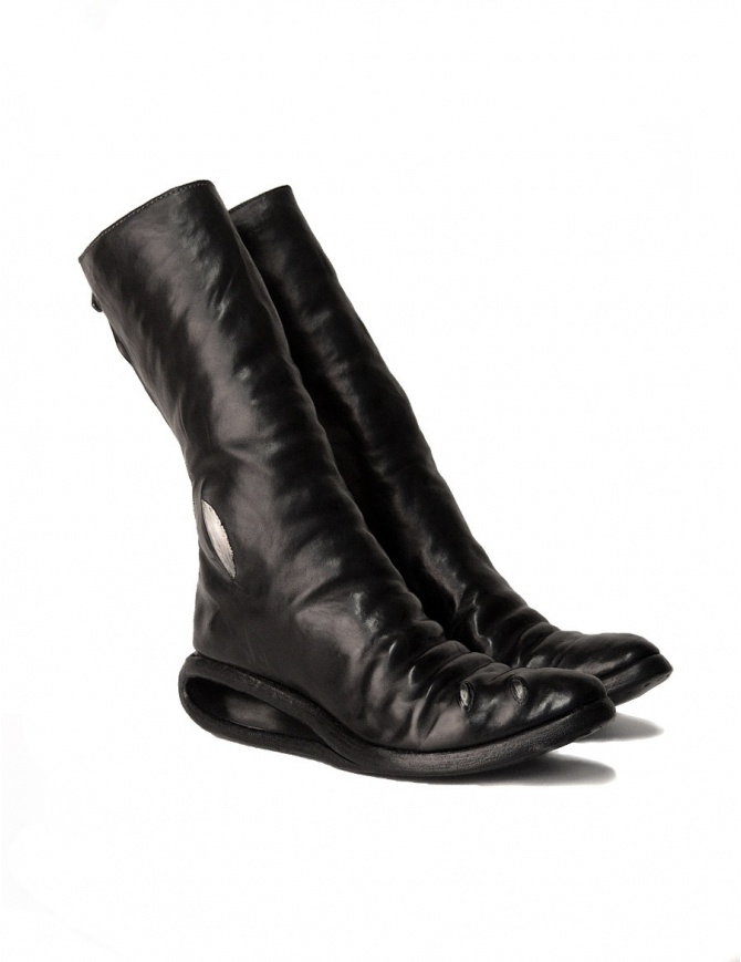 Black leather boots with metal insert AF/0907P CORS-PTC/010 womens shoes online shopping