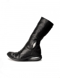 Black leather boots with metal insert