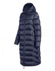 Parajumpers Leah long navy quilted jacket with hood