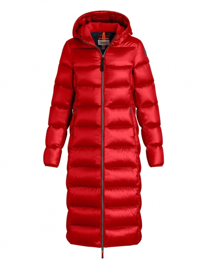 Parajumpers Leah long scarlet quilted jacket with hood PW JCK SX33 LEAH 723 womens coats online shopping