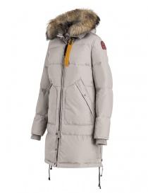Cappotto Parajumpers Long Bear bianco con cappuccio in pelliccia