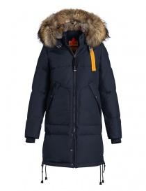 Cappotto Parajumpers Long Bear blu con cappuccio in pelliccia online
