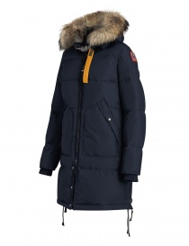 Cappotto Parajumpers Long Bear blu con cappuccio in pelliccia