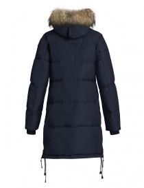 Cappotto Parajumpers Long Bear blu con cappuccio in pelliccia prezzo