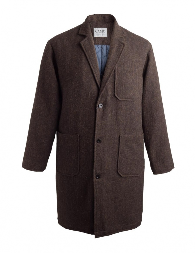 Camo tobacco brown color coat Ribot AD0047 RIBOT BROWN mens coats online shopping