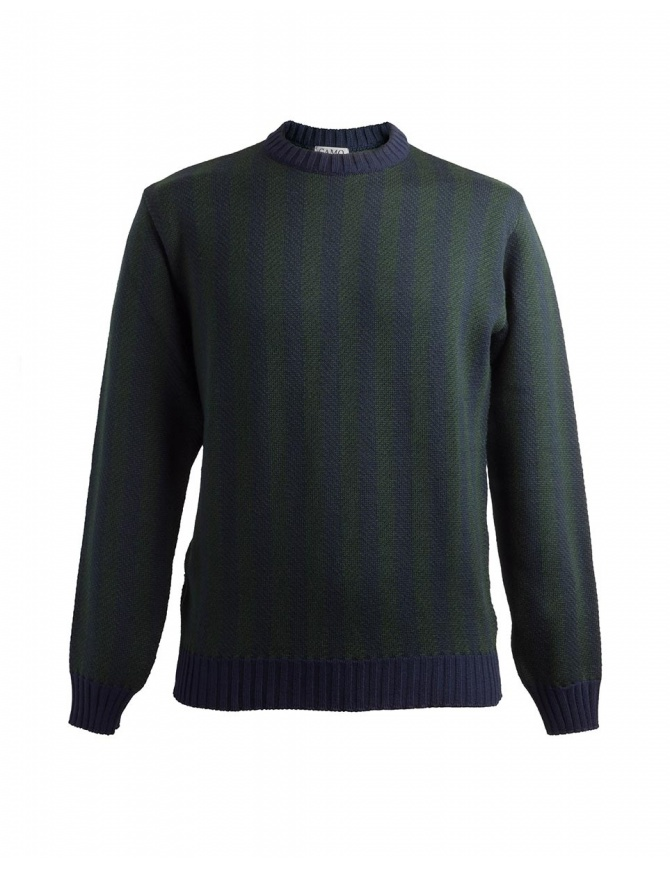 Camo Deleo green and blue vertical striped sweater AD0086 DELEO GREEN mens knitwear online shopping