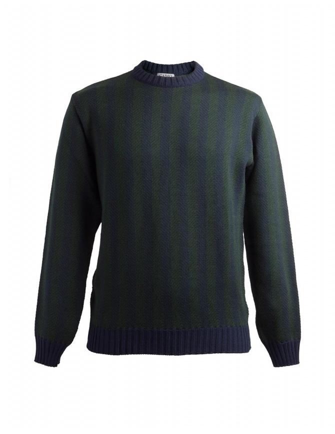 Maglione Camo Deleo a righe verticali verdi blu AD0086 DELEO GREEN maglieria uomo online shopping
