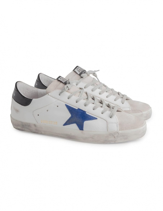 Golden Goose Superstar sneakers with blue star G33MS590 L39 mens shoes online shopping