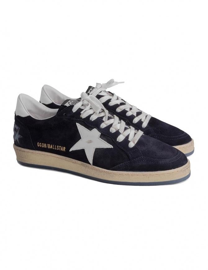 Golden Goose Ballstar blu navy con scritta SNEAKERS G33MS592 M6 calzature uomo online shopping