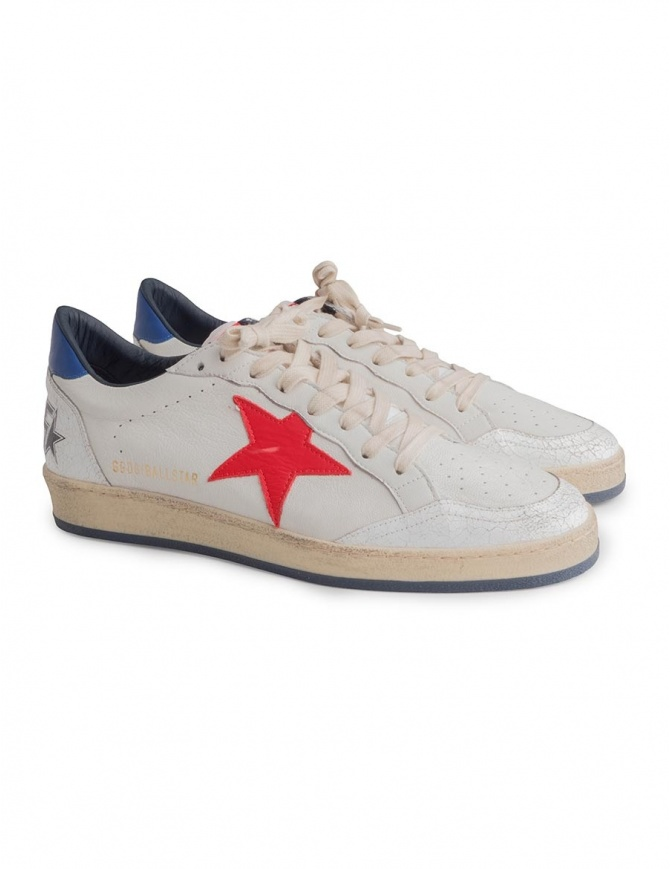 Sneakers Golden Goose Ballstar bianche con stella rossa G33MS593 H8 calzature uomo online shopping