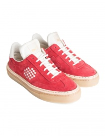 BePositive red and white suede sneakers for women 8FWOARIA14/SUE/RED