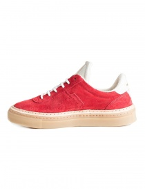 BePositive red and white suede sneakers for women