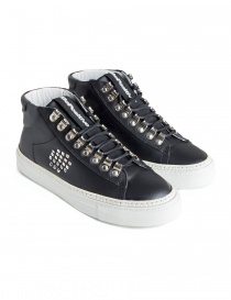 Sneakers BePositive alte in pelle nera con borchie da donna 8FWOARIA16/LEA/BLK-T