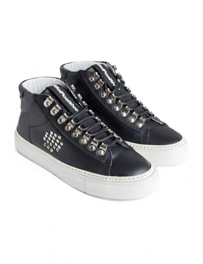Sneakers BePositive alte in pelle nera con borchie da donna 8FWOARIA16/LEA/BLK-T calzature donna online shopping