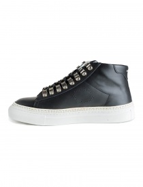 Sneakers BePositive alte in pelle nera con borchie da donna
