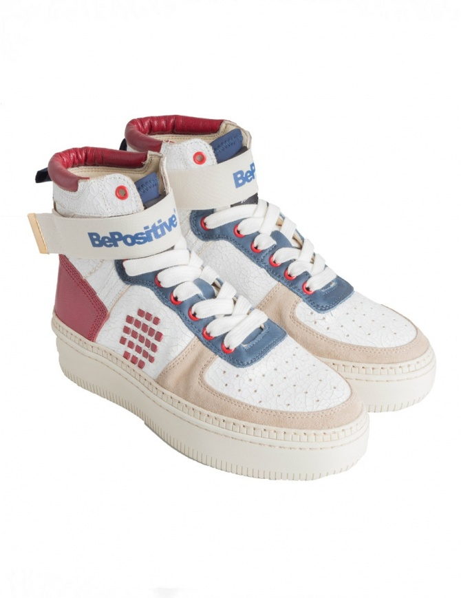 BePositive Veeshoes white red blue high top sneakers for women 8FSUONO03/LEA/WRN-TRACK womens shoes online shopping